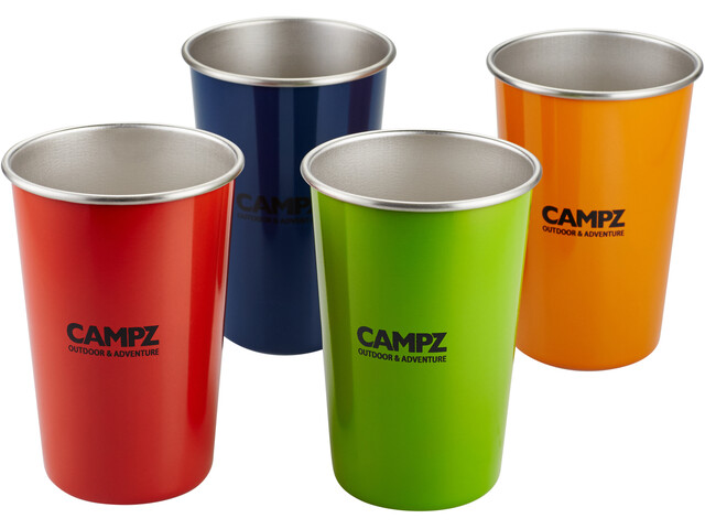 CAMPZ Stainless Steel Stacking Cups Set 4 Pieces colorful